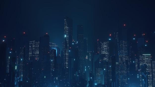 Futurystyczne wirtualne miasto science fiction.