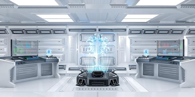 Futurystyczne wnętrze pokoju badań sci-fi z maszyną z hologramem, renderowanie 3d