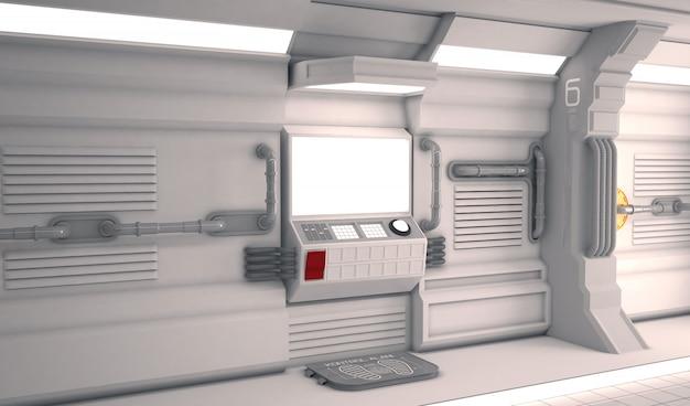 Futurystyczne wnętrze statku kosmicznego z metalową podłogą i lekkimi panelami