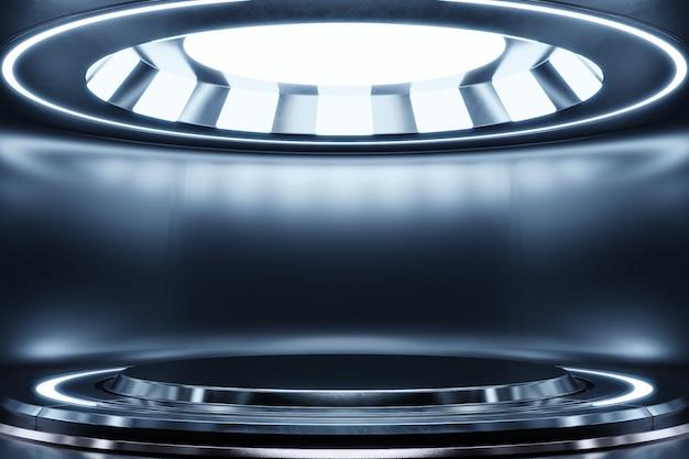 Futurystyczne wnętrze z pustym podium i białym światłem