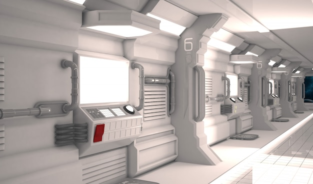 Futurystyczny design wnętrza statku kosmicznego z metalową podłogą i lekkimi panelami