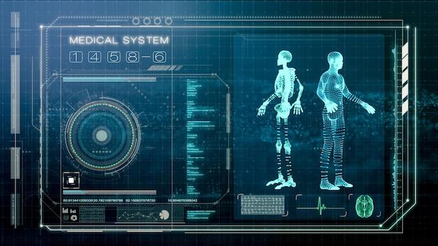 Futurystyczny ekran skanowania ludzkiego ciała i badania lekarskiego, ekran ilustracyjny inteligentnej diagnozy medycznej, renderowanie ilustracji 3d