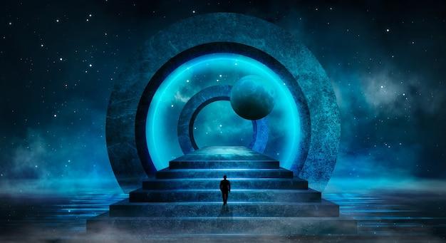 Futurystyczny fantasy abstrakcyjny nocny krajobraz z blaskiem księżyca na wyspie
