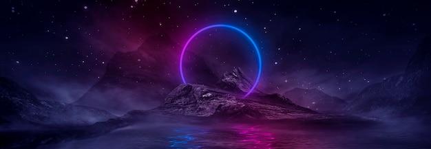 Futurystyczny fantasy nocny krajobraz z odbiciem światła w wodzie. neon kosmiczna galaktyka portal ilustracja 3d