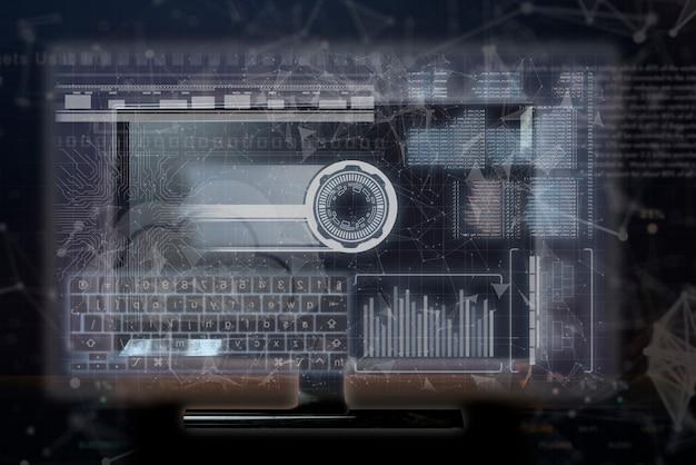 Futurystyczny interfejs telewizyjny, wirtualny wyświetlacz barwny, informacje