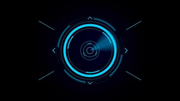 Futurystyczny interfejs użytkownika hud, cyfrowy celownik, skanowanie w poszukiwaniu celu