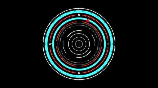 Futurystyczny interfejs użytkownika hud, cyfrowy kompas, skanowanie w poszukiwaniu celu