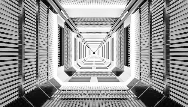 Futurystyczny korytarz science fiction w statku kosmicznym lub laboratorium naukowym