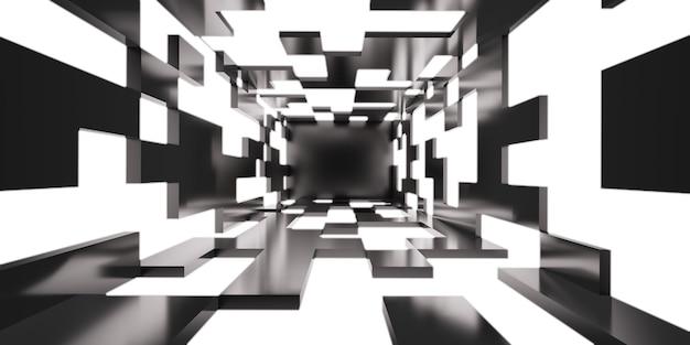 Futurystyczny korytarz tunelowy z technologią neonów tapeta tło światło korytarz 3d