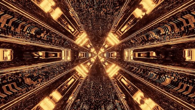 Futurystyczny korytarz tunelu science-fiction z liniami i złotymi, brązowymi i żółtymi światłami
