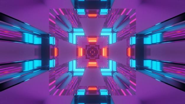 Futurystyczny korytarz tunelu z neonowymi światłami, renderowanie 3d w tle