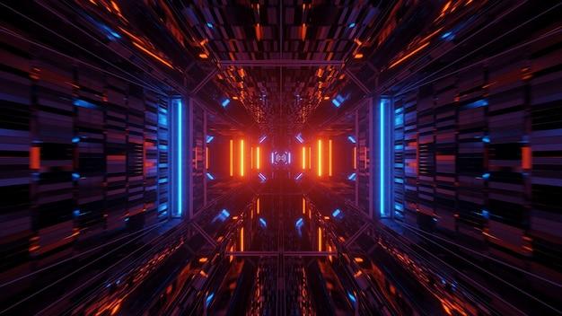 Futurystyczny korytarz tunelu z neonowymi światłami, renderowanie 3d