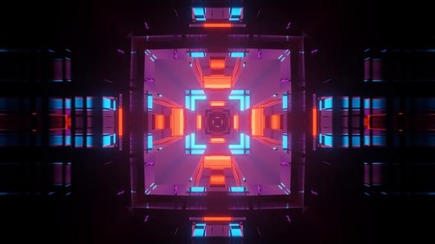 Futurystyczny korytarz tunelu z neonowymi światłami, tapeta w tle renderowania 3d