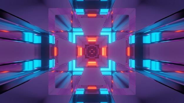 Futurystyczny korytarz tunelu ze świecącymi neonami, tapeta w tle renderowania 3d