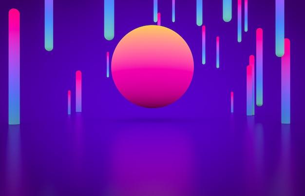 Futurystyczny kształt geometryczny pusty etap ze świecącym neonowym kolorem.