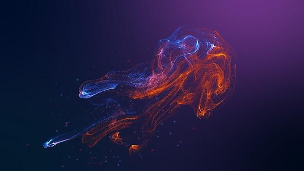 Futurystyczny kształt meduzy czerwony niebieski kolorowy płyn płynący faluje.
