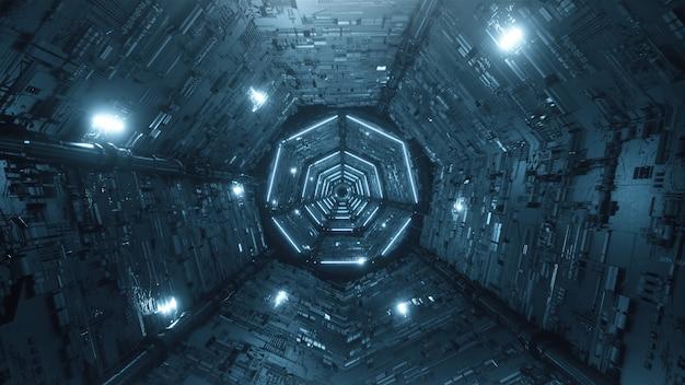 Futurystyczny metaliczny tunel ze światłami
