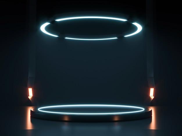 Futurystyczny neon sci fi empty stage. renderowanie 3d