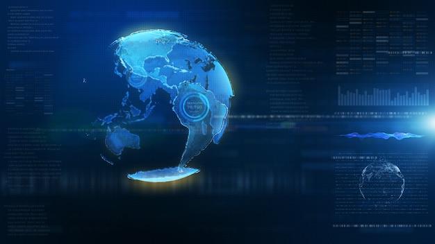 Futurystyczny niebieski cyfrowy hud ziemia świat informacji hologram tło interfejsu użytkownika.
