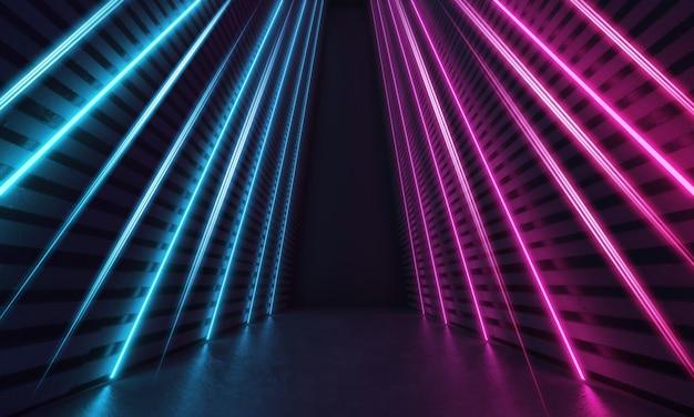 Futurystyczny nowoczesny pokój science fiction z niebieskimi i fioletowymi świecącymi neonowymi liniami w kształcie pasków. renderowanie 3d