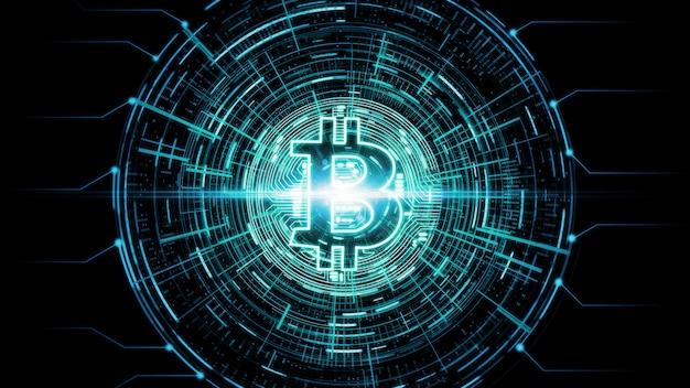 Futurystyczny nowoczesny świecący bitcoin (btc) e