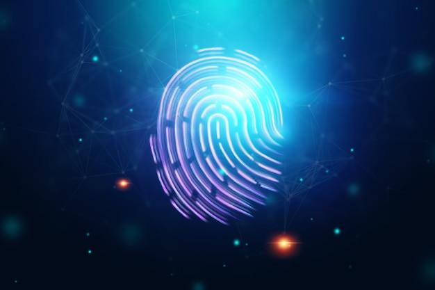 Futurystyczny odcisk palca z hologramem