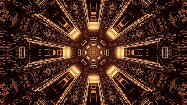 Futurystyczny, okrągły, pikselowy korytarz tunelu science-fiction z brązowymi i złotymi światłami