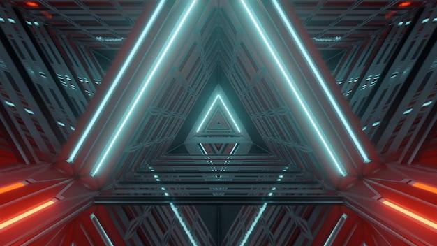 Futurystyczny oświetlony korytarz z pięknymi abstrakcyjnymi efektami świetlnymi