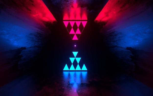 Futurystyczny Pokój Oncrete Ze świecącymi Neonami Laserowymi Premium Zdjęcia