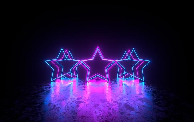 Futurystyczny pokój science fiction z neonowymi gwiazdami