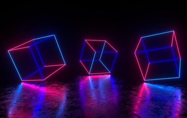 Futurystyczny pokój z betonu science fiction ze świecącym neonem