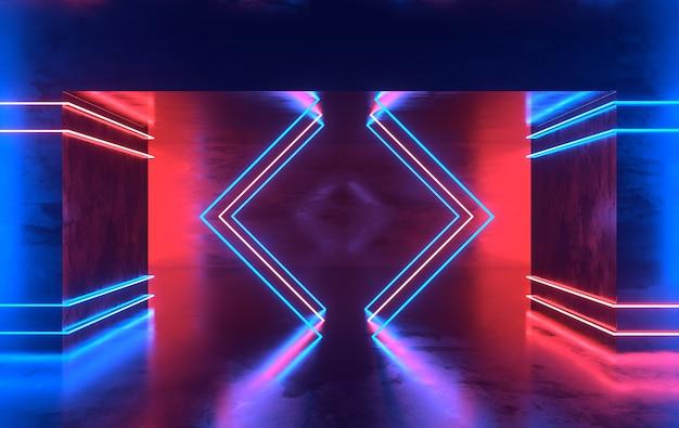 Futurystyczny pokój z betonu science fiction ze świecącym neonem.