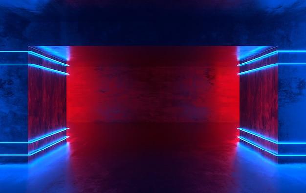 Futurystyczny pokój z betonu scifi ze świecącym neonem