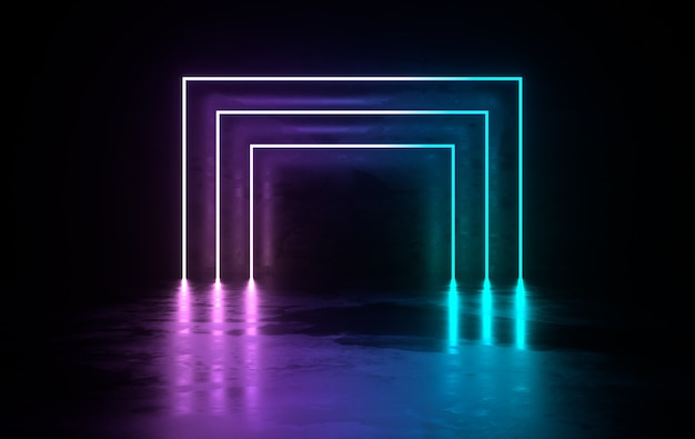 Futurystyczny pokój z betonu scifi ze świecącymi neonami