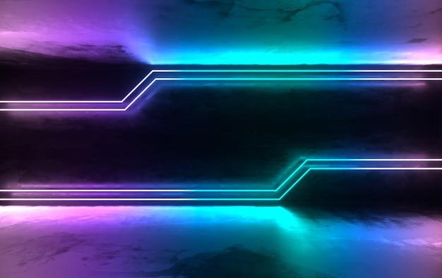 Futurystyczny pokój z betonu ze świecącymi neonami