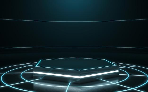 Futurystyczny postument do wyświetlania. puste podium dla produktu. 3d rendering