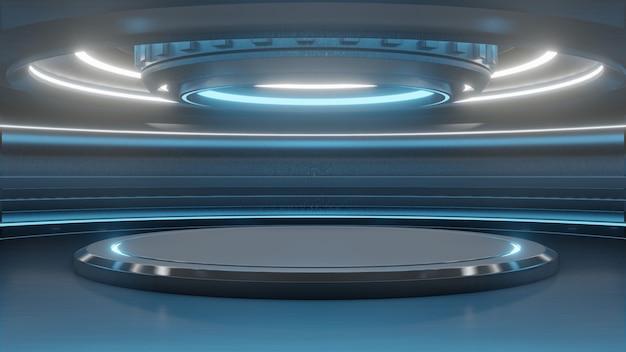 Futurystyczny pusty stojak na nowoczesną technologię tła przyszłości science fiction