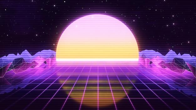 Futurystyczny retro synthwave z lat 80