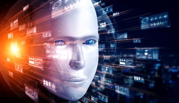 Futurystyczny robot i analiza danych