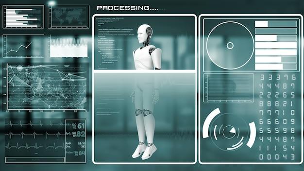Futurystyczny robot, sztuczna inteligencja cgi, analityka i programowanie big data