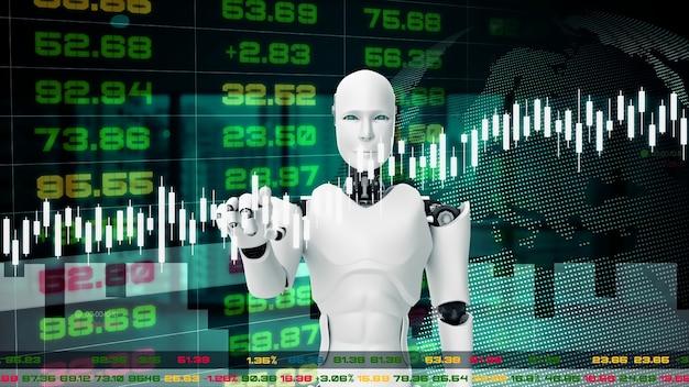 Futurystyczny robot, sztuczna inteligencja cgi do handlu na giełdzie
