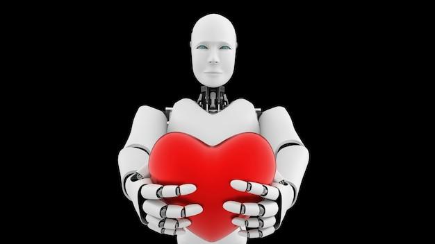 Futurystyczny robot, sztuczna inteligencja cgi na czarno