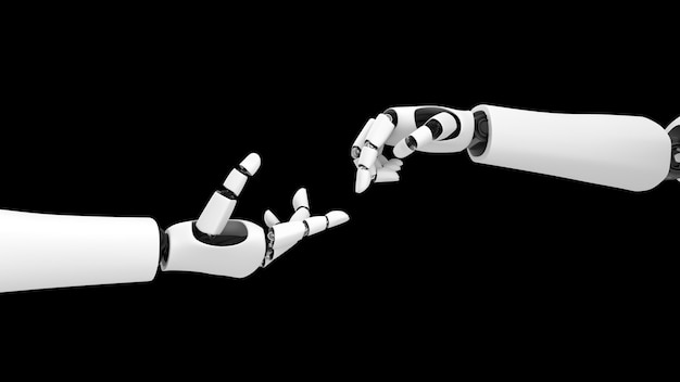 Futurystyczny robot, sztuczna inteligencja cgi na czarnym tle