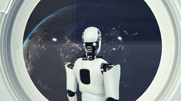 Futurystyczny robot, sztuczna inteligencja cgi wewnątrz statku kosmicznego we wszechświecie kosmicznym
