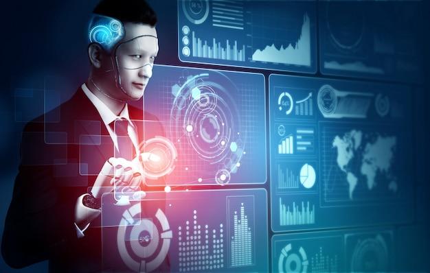 Futurystyczny robot sztucznej inteligencji koncepcja.