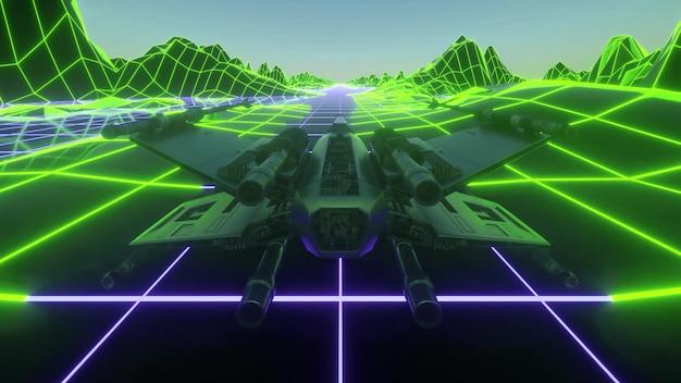 Futurystyczny statek kosmiczny latający w przestrzeni. retro futurystyczny statek kosmiczny w stylu lat 80-tych. renderowania 3d.
