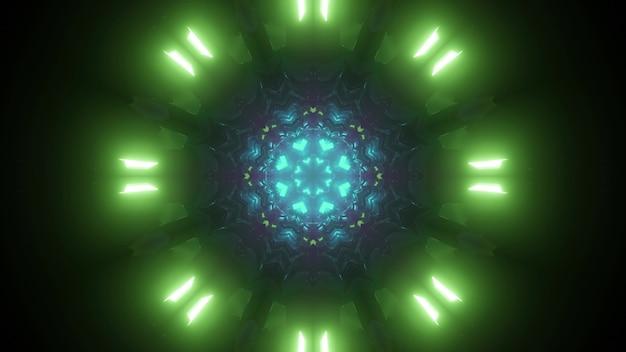 Futurystyczny streszczenie tło niekończącego się tunelu science fiction z zielonymi i niebieskimi neonami 3d ilustracją
