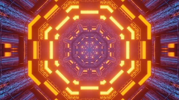 Futurystyczny tunel korytarz neony tło