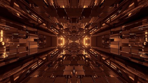 Futurystyczny tunel kosmiczny science fiction ze świecącymi błyszczącymi światłami