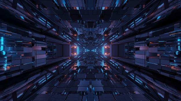 Futurystyczny tunel kosmiczny science-fiction ze świecącymi błyszczącymi światłami